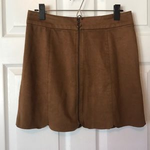 Tan Suede Zipper-Front Skirt